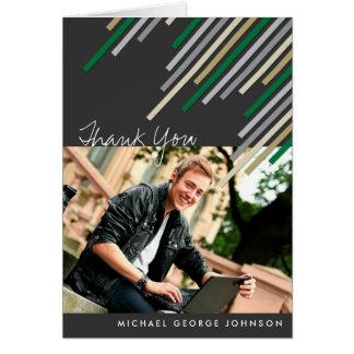 Green Diagonal Stripes Graduation Thank You Card