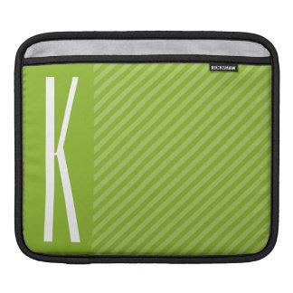 Green Diagonal Stripes iPad Sleeve