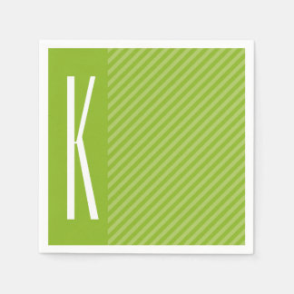Green Diagonal Stripes Paper Napkin