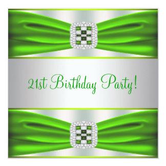 Green Diamond 21st Birthday Party Invitation