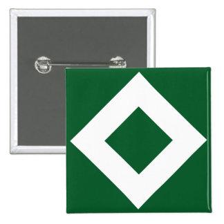 Green Diamond, Bold White Border 2 Inch Square Button