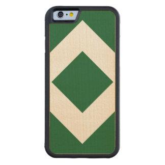 Green Diamond, Bold White Border Carved® Maple iPhone 6 Bumper Case