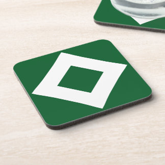 Green Diamond, Bold White Border Drink Coaster