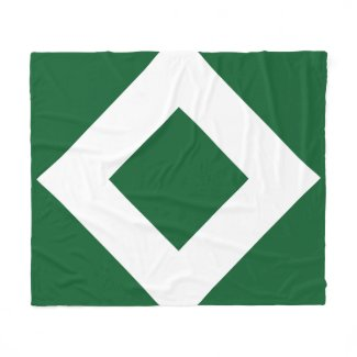 Green Diamond, Bold White Border Fleece Blanket