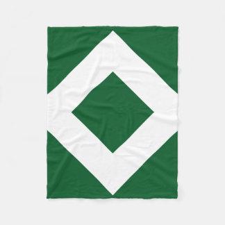 Green Diamond, Bold White Border Fleece Blanket