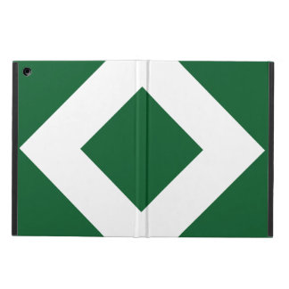 Green Diamond, Bold White Border iPad Air Cases