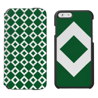 Green Diamond, Bold White Border iPhone 6/6s Wallet Case