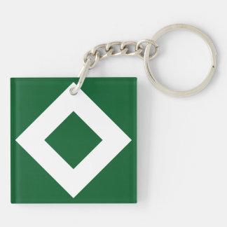 Green Diamond, Bold White Border Keychain