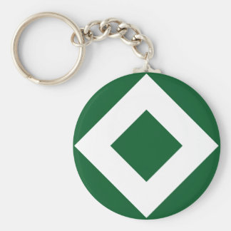 Green Diamond, Bold White Border Basic Round Button Keychain