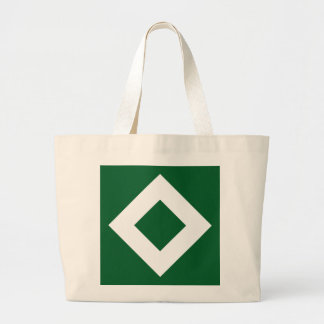 Green Diamond, Bold White Border Large Tote Bag