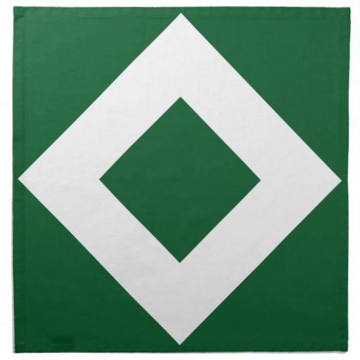 Green Diamond, Bold White Border Napkin