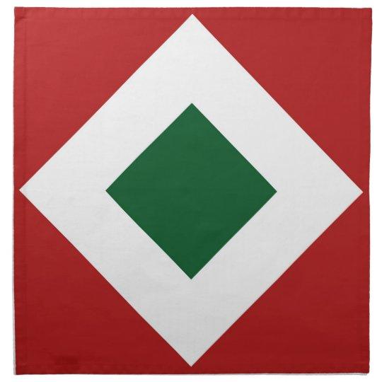 Green Diamond, Bold White Border on Red Napkin