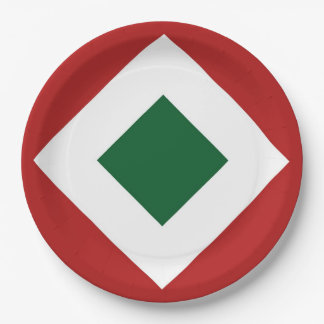Green Diamond, Bold White Border on Red Paper Plate