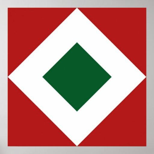 Green Diamond, Bold White Border on Red Poster