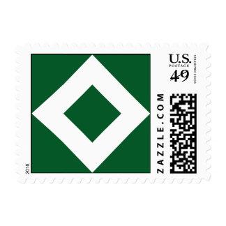 Green Diamond, Bold White Border Postage
