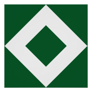 Green Diamond, Bold White Border Poster