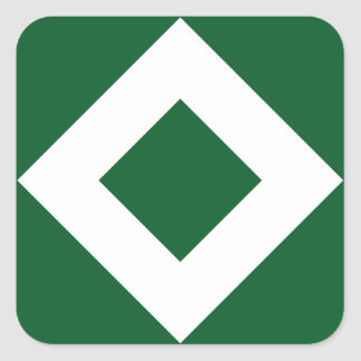 Green Diamond, Bold White Border Square Sticker