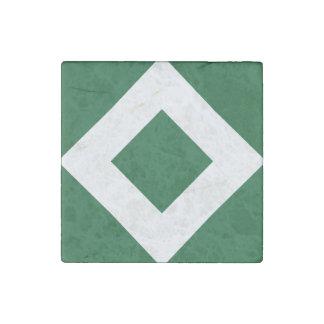 Green Diamond, Bold White Border Stone Magnet
