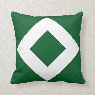 Green Diamond, Bold White Border Throw Pillow