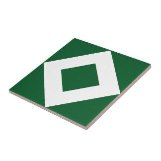 Green Diamond, Bold White Border Tile
