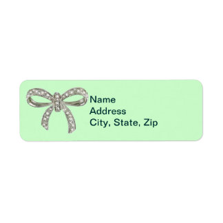 Green Diamond Bow Wedding Address Labels