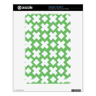 Green Diamond Cross Monogram Pattern Decals For Kindle 2