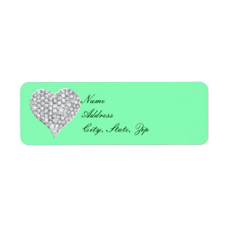 Green Diamond Heart Address Labels