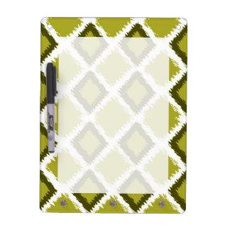 Green Diamond Ikat Pattern Dry Erase Board