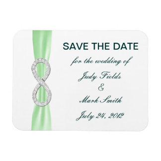 Green Diamond Infinity Save The Date Magnet Flexible Magnet