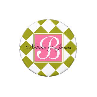 Green Diamond Pattern Jelly Belly Tin