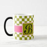 Green Diamond Pattern 11 Oz Magic Heat Color-Changing Coffee Mug