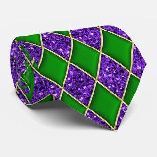 Green Diamond Purple Sequin Pattern Mardi Gras Tie