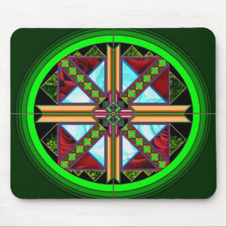 Green Diamond Rose Mouse Pad