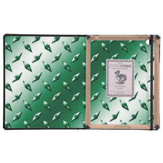Green diamond steel plate monogram cover for iPad