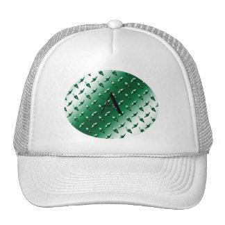 Green diamond steel plate monogram trucker hat