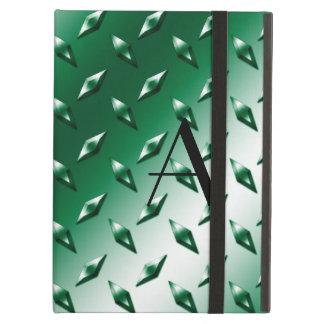 Green diamond steel plate monogram iPad air covers