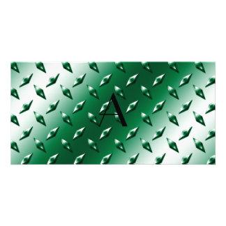 Green diamond steel plate monogram photo card