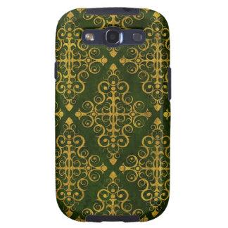 Green Diamond Swirls Pattern Samsung Galaxy S3 Covers