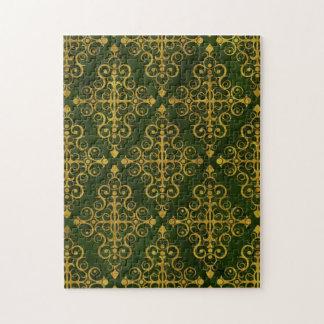 Green Diamond Swirls Pattern Jigsaw Puzzle