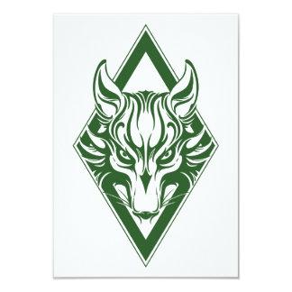 Green Diamond Wolf Face Graphic Custom Invite