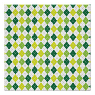 Green Diamonds, Argyle Pattern Posters