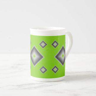 Green Diamonds Bone China Mug by Janz