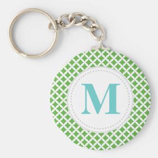 Green Diamonds Custom Monogram Basic Round Button Keychain