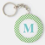 Green Diamonds Custom Monogram Key Chains