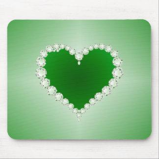 Green, Diamonds, Heart, Mouse Pad