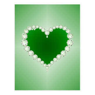 Green, Diamonds, Heart, Postcard