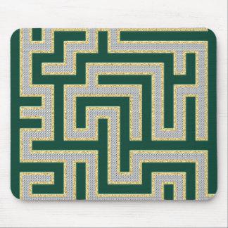 Green Diamonds Maze Pattern Mouse Pads
