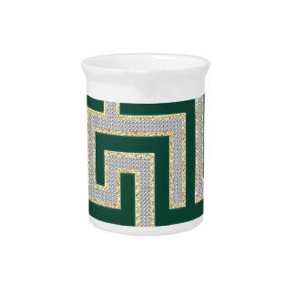Green Diamonds Maze Pattern Multiple Products sele Beverage Pitcher