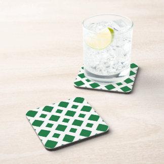 Green Diamonds on White Beverage Coaster