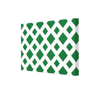 Green Diamonds on White Stretched Canvas Print